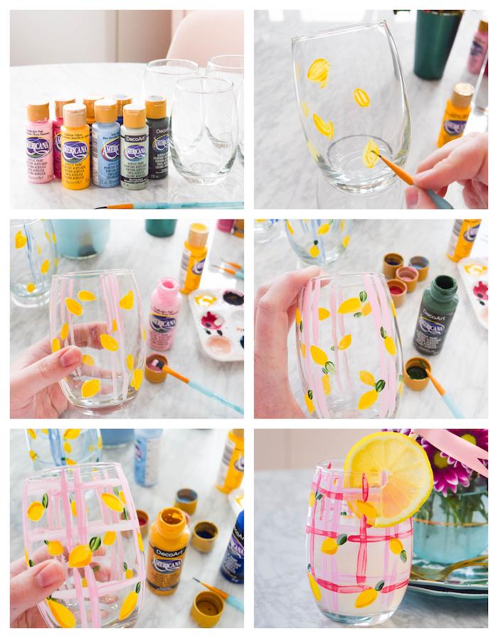 un verre décoré de motif citron jaune avec feuille verte et des bandes roses horizontales et verticales dessinées en peinture, bricolage facile et rapide