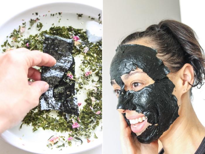 soin du visage naturel anti-points noir avec un masque fait maison aux algues noris et herbes,comment faire un masque visage à peler