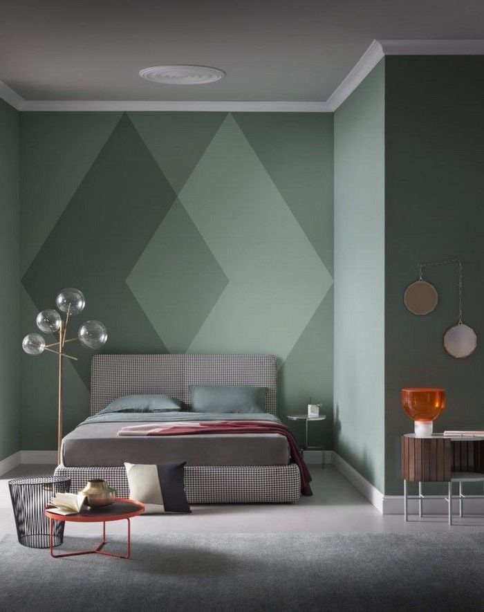 Chambre bleu canard tendance couleur 2018 décoration moderne de chambre deco mur vert géométrique peinture