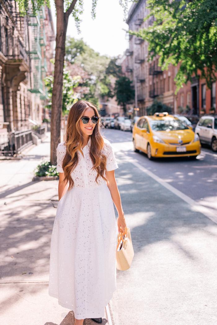 Robe fluide habillée robe légère été etre une femme bien habilleee style chic blanche mi longue robe d ete avec manche courte robe dentelle blanche
