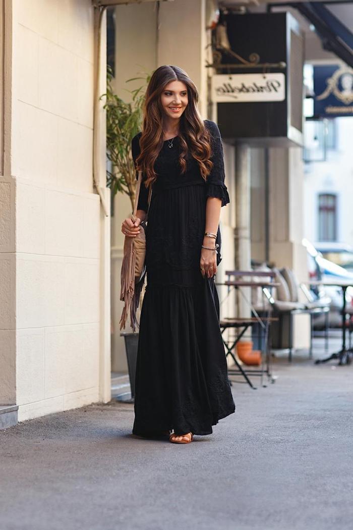 Robe longue boheme robe longue fendue tendance bohème chic femme style noire longue robe avec manche
