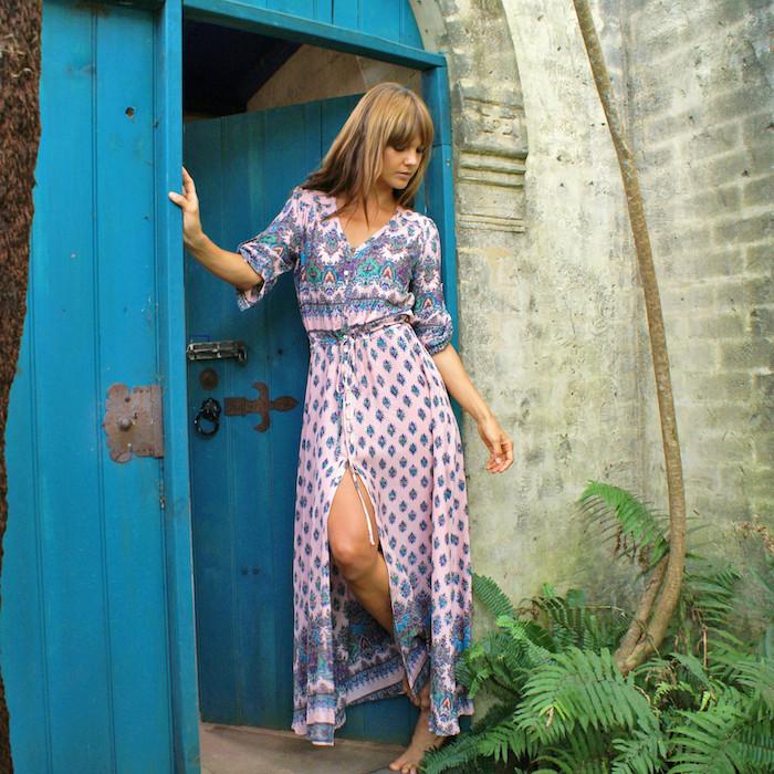 Robe boheme longue robe longue fendue robe légère été moderne tendance robe hippie avec manche rose pale