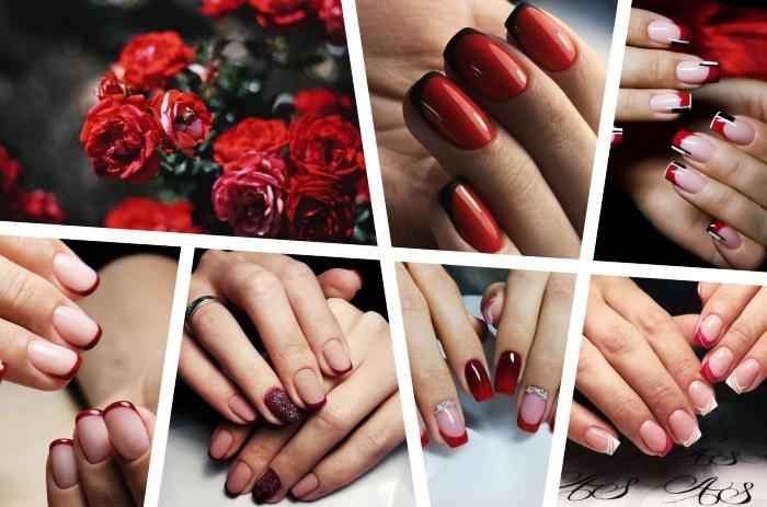 comment réaliser une manucure french en rouge, exemple ongle manucure française avec base nude mate et bouts rouges