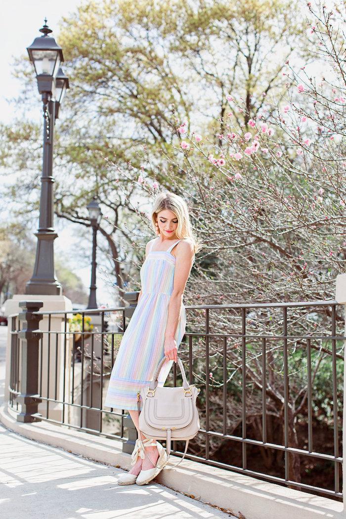 14a1458c79f83 Robe droite fluide robe longue moulante femme comment s'habiller l ete  couleurs pastel rayé