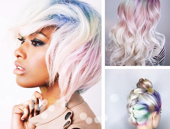 idée pour changer de couleur de cheveux, exemple de coloration blond blanc aux racines colorées en arc-en-ciel