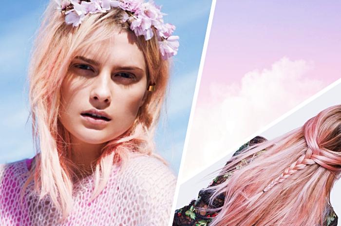 exemple de balayage miel ou rose pastel sur cheveux de base châtain aux racines blond foncé et pointes éclaircies