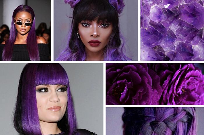 produits de coloration l oreal pour cheveux ultra violet, coiffure de Jessie J aux cheveux noirs et violet avec frange