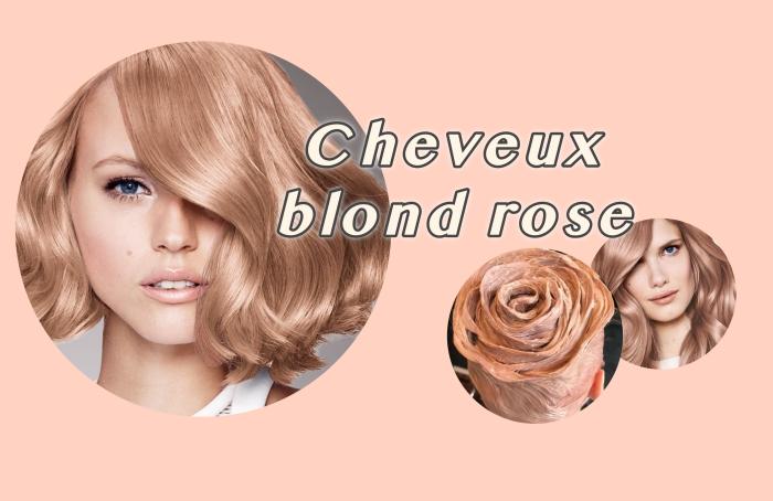 idée quelle coloration cheveux choisir, coupe de cheveux courts bouclés de nuance rose gold aux reflets brillants