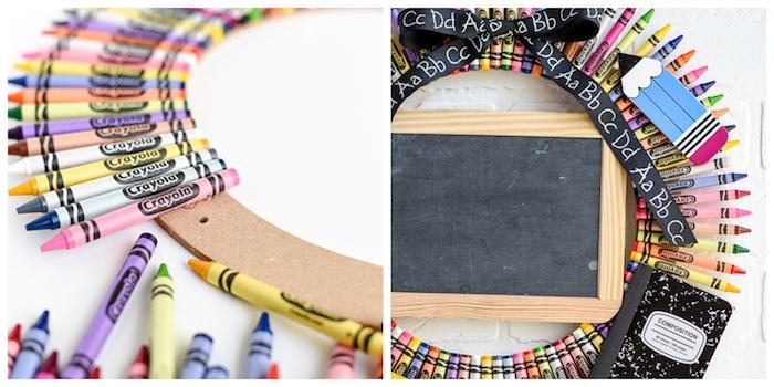 cadeau maitresse a faire soi meme, couronne en carton décorée de crayons en couleur avec un petit tableau noir au milieu