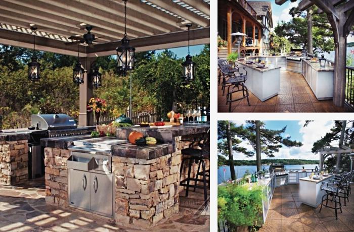 idée pour abri cuisine extérieure de bois, aménagement espace extérieur avec ilot central et équipement de cuisine en inox