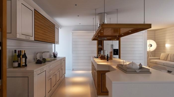exemple de cuisine blanche et bois avec meubles haut en bois clair et ilot central aux armoires bois et comptoir blanc