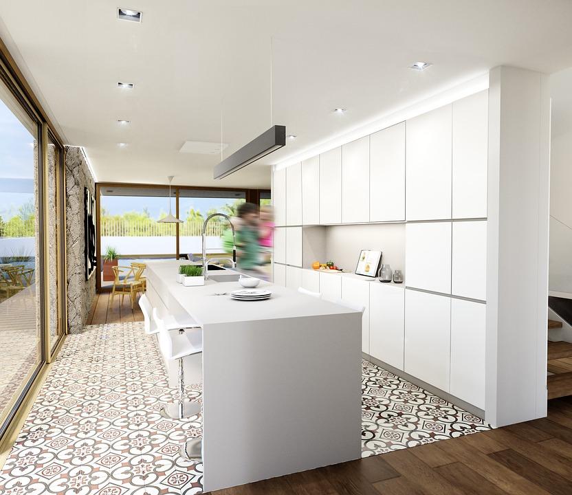 meuble cuisine et ilot central blanc style épuré dans une cuisine tendance, sol carrelage original motifs floraux, tendances cuisine 2018