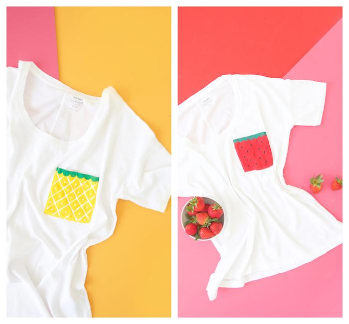 exemple d activité manuelle été, poche tee shirt blanc à motif fraise et ananas en peinture pour tissu