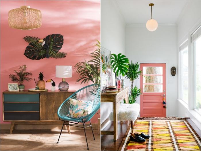une décoration d'intérieur à l'ambiance tropicale et dépaysante qui respire l'exotisme et la bonne humeur, misant sur les petits objets déco à inspiration tropicale et les matières naturelles
