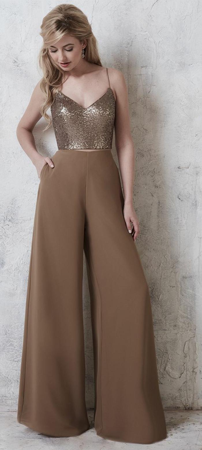 tenue ceremonie femme, combishort mariage en marron clair, débardeur aux sequins couleur bronze, pantalon très large taille haute