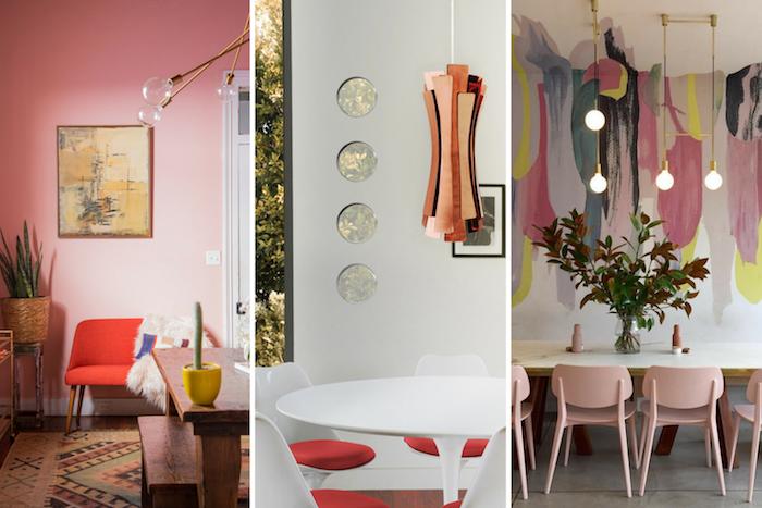 Deco rose poudré chambre rose et gris intérieur cosy salon cool idée intérieur chic idées déco blanc et rose salle à manger
