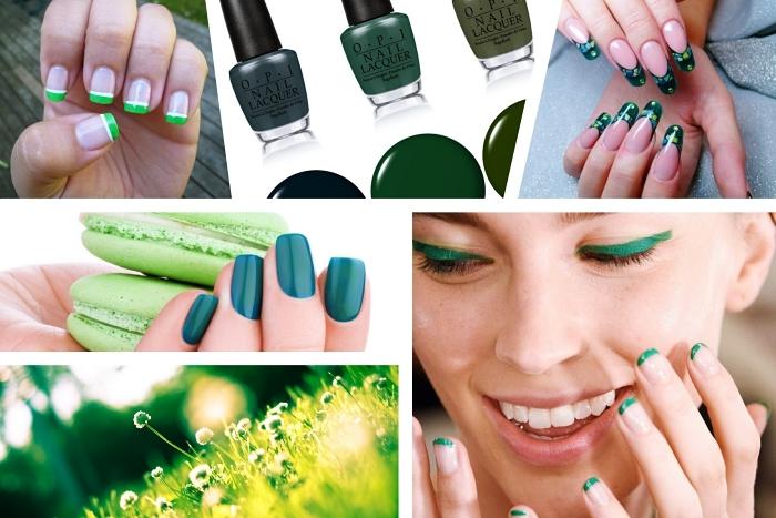 idée comment réaliser une manucure à design français avec vernis à ongles de nuances vertes, ongles longs à manucure verte aux design floraux