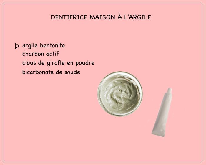 recette dentifrice facile aux ingrédients simples, à l'argile bentonite, au charbon actif, bicarbonate de soude et à la poudre de girofle