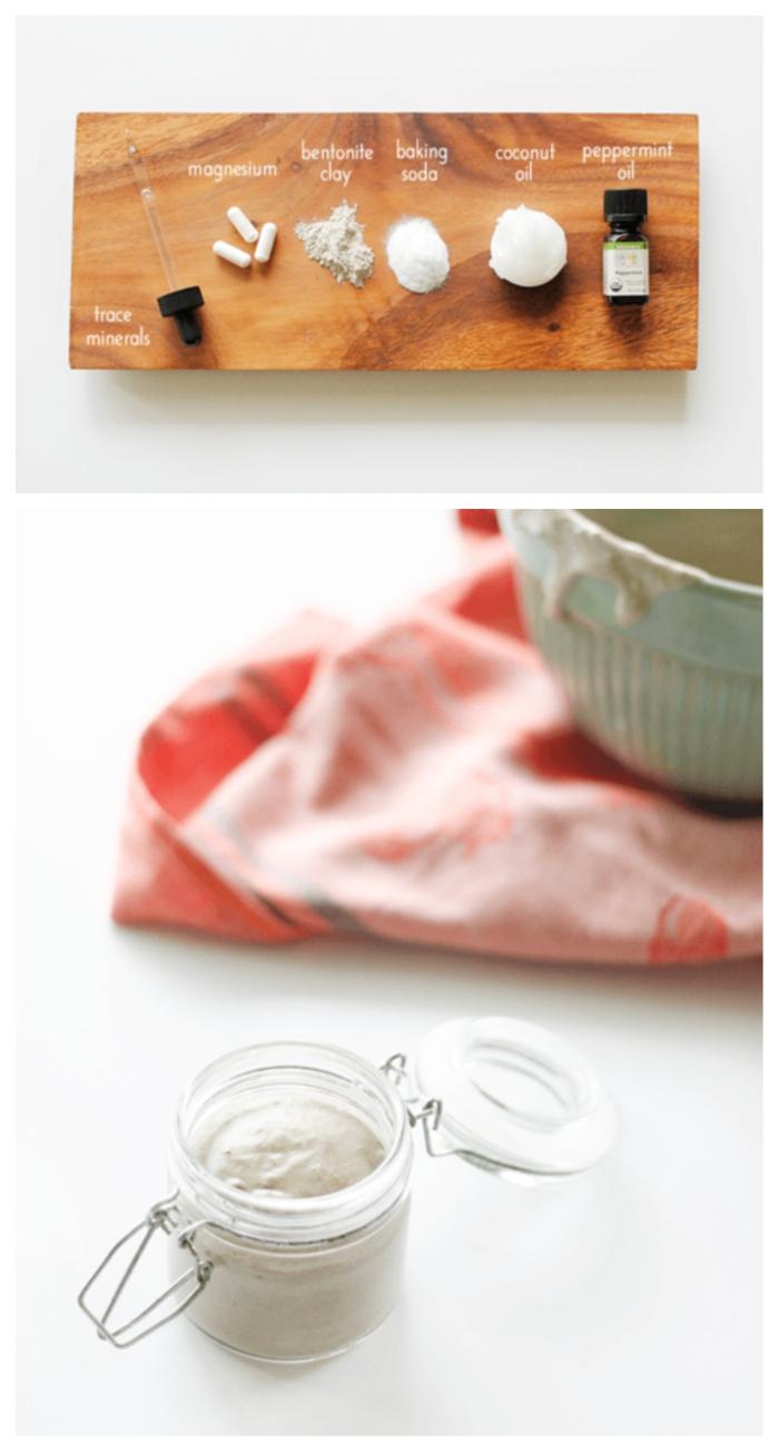 fabriquer son dentifrice reminéralisant à l'argile, bicarbonate de soude, huile de coco, enrichi d'oligo-éléments et de magnésium