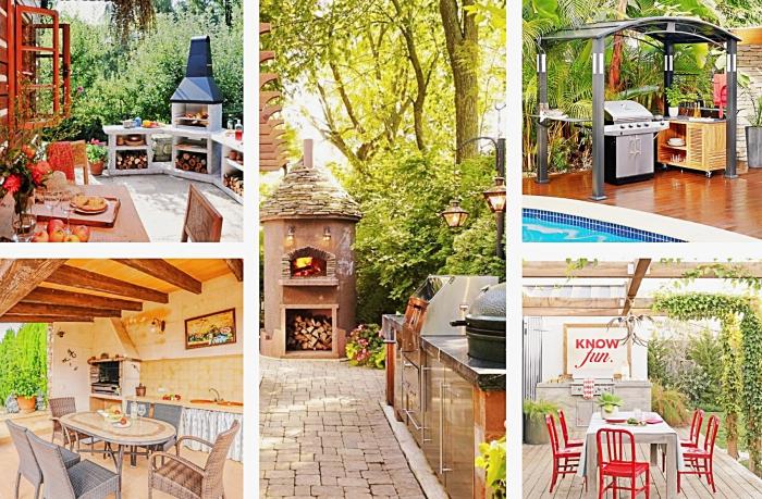 exemples de cuisine exterieure bien équipée avec barbecue ou grille en inox, modèles de cuisine de jardin avec ou sans toit