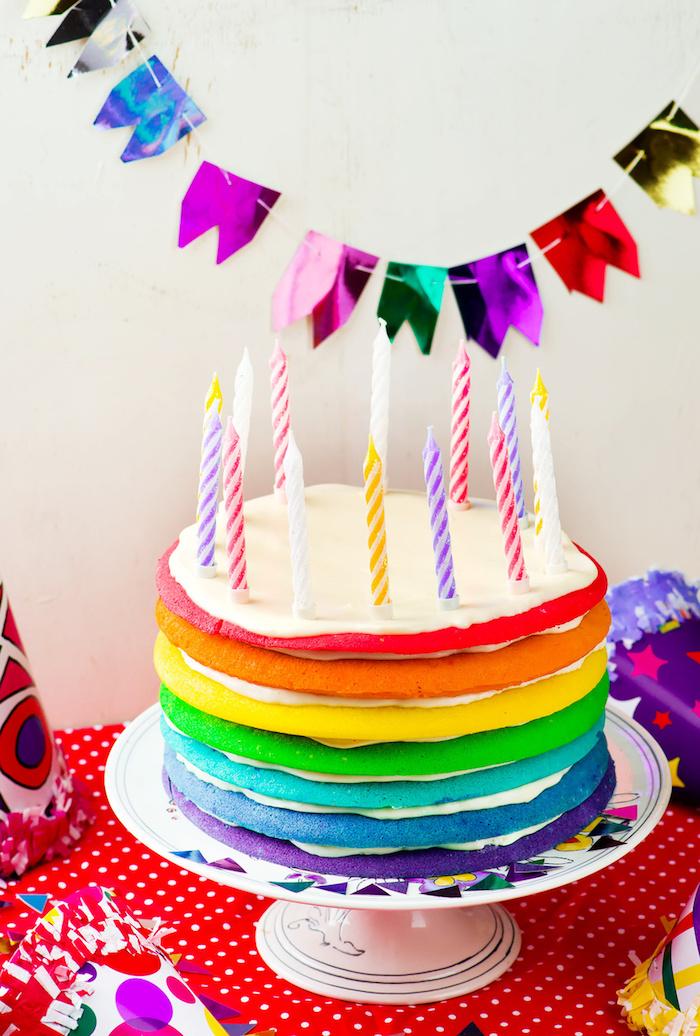 Gateau pour enfant gateau anniversaire facile gâteaux d'anniversaire pour enfant arc en ciel génoise coloré