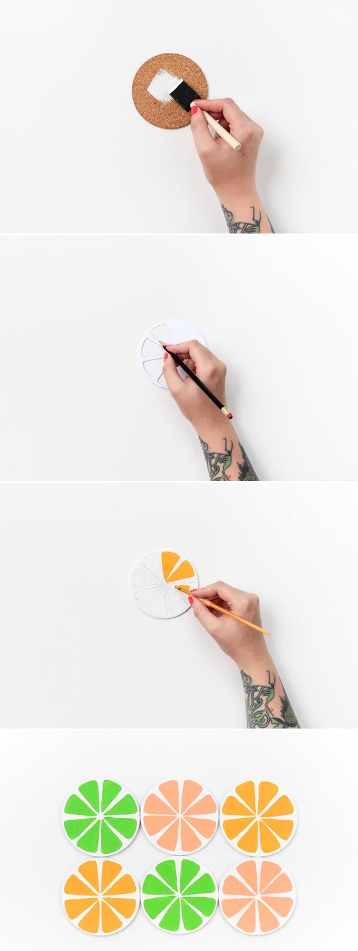 activité manuelle été, tuto pour faire un dessous de verre liège motif fruits dessiné en orange, jaune et vert sur un rondin bois