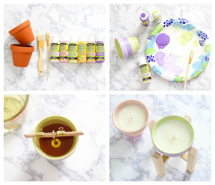 activité manuelle été, pot de fleur en terre cuite décoré à rayures colorées avec de la cire à l intérieur, bricolage facile et rapide