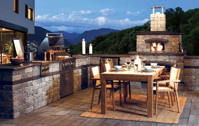 comment aménager jardin ou terrasse avec équipement et mobilier cuisine, modèle de barbecue et grille en pierre et acier inoxydable