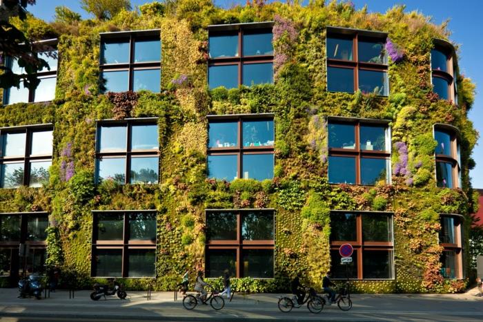 mur vegetal exterieur, immeuble avec des bureaux et centres de commerce, paysage urbain, touffes vertes, nuances qui se fondent délicatement