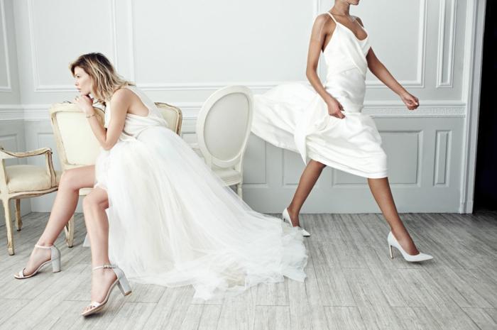 chaussure blanche mariage aux bouts pointus, chaussures ivoire, chaussure ceremonie femme, chaussure argenté mariage