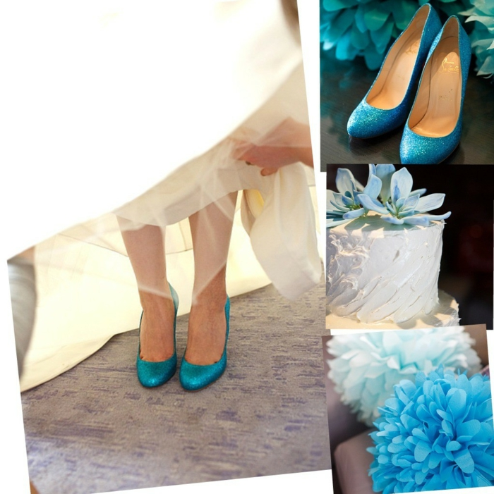 chaussure mariage femme, chaussure mariee, escarpin mariage, sequins en bleu turquoise, bouts arrondis, robe blanche aux détails ivoire