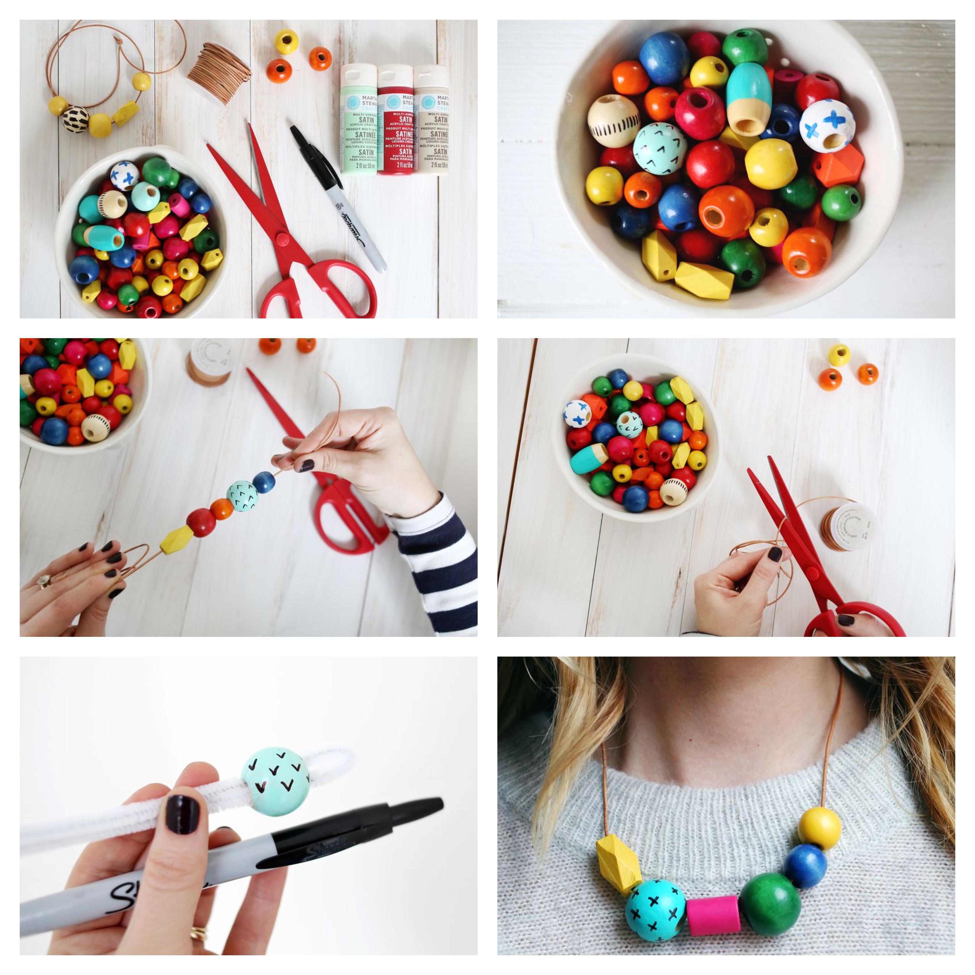 idée de collier personnalisé de perles décoratives en bois colorées sur un fil, idee cadeau maitresse fait main et cadeau fete des meres a faire soi meme