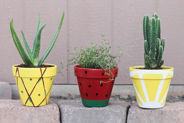 pot de fleur diy décoré de motif fruit de passion, citron et fraise avec des plantes grasses à l intérieur, deco exterieur, activité manuelle été