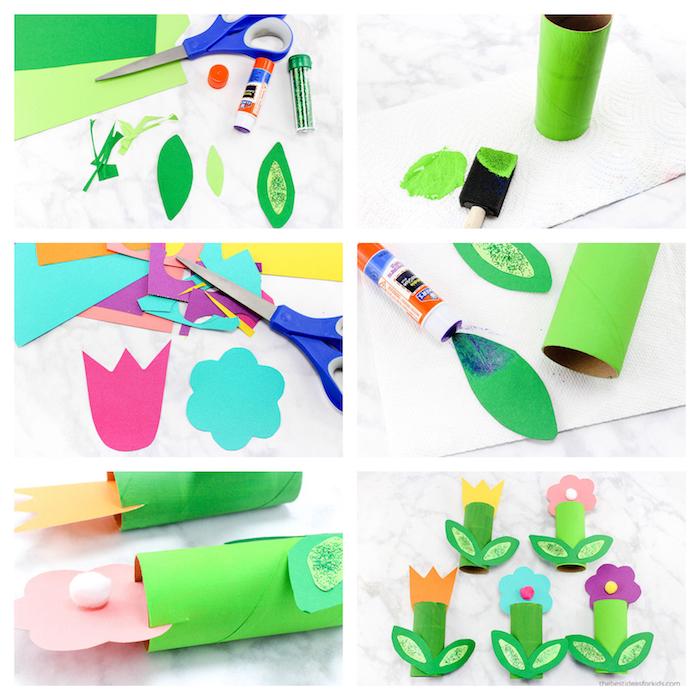 activité manuelle 3 ans facile, bricolage avec rouleaux papier toilette décorés de feuilles vertes et fleur en papier colorée