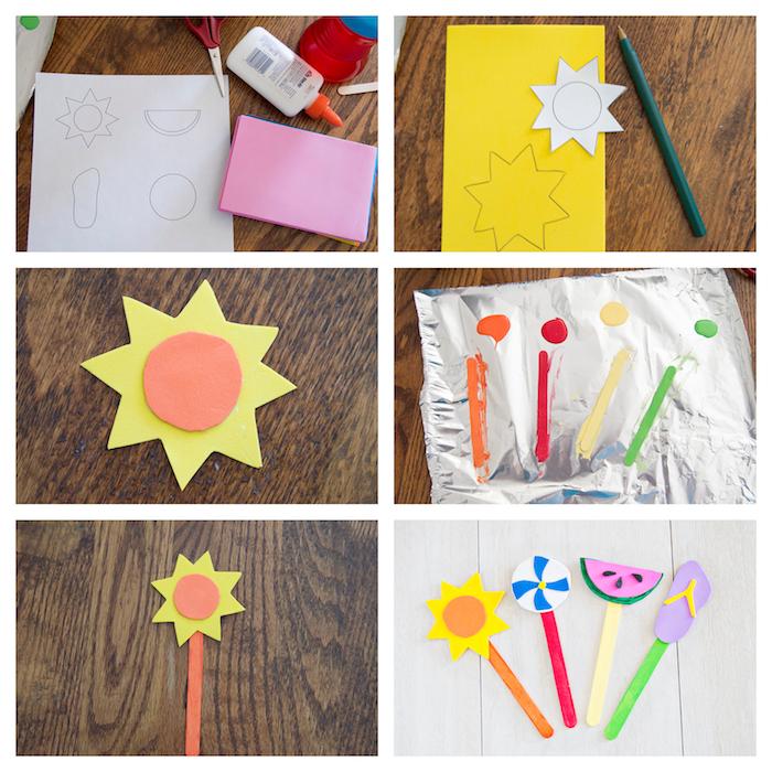activité manuelle maternelle, batonnets de glace colorés avec motif soleil, pasteque, sandale en papier