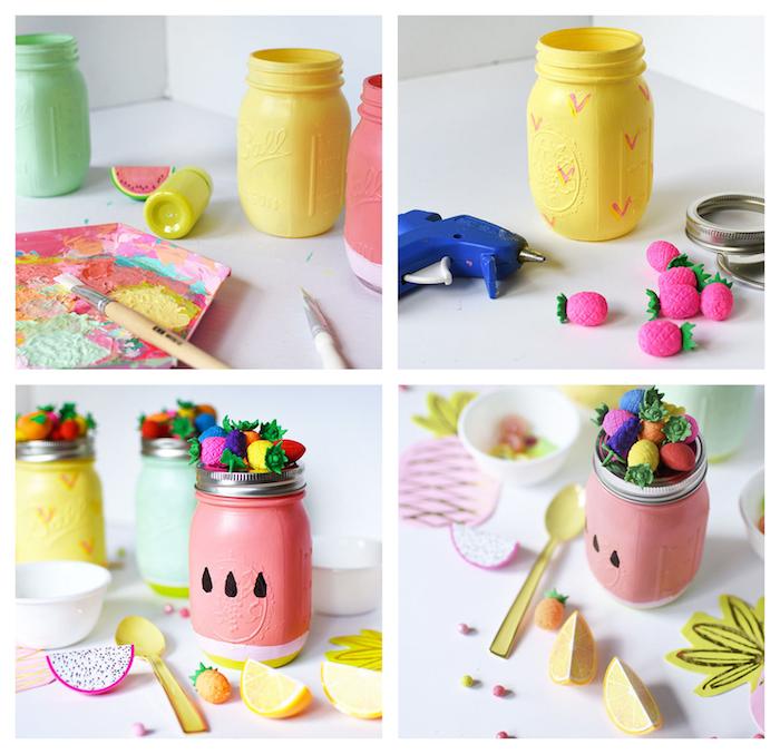 diy pot en verre recyclé et coloré de peinture motif fruit avec un couvercle décoré de fruits colorés en plastique, activite manuel pour ado