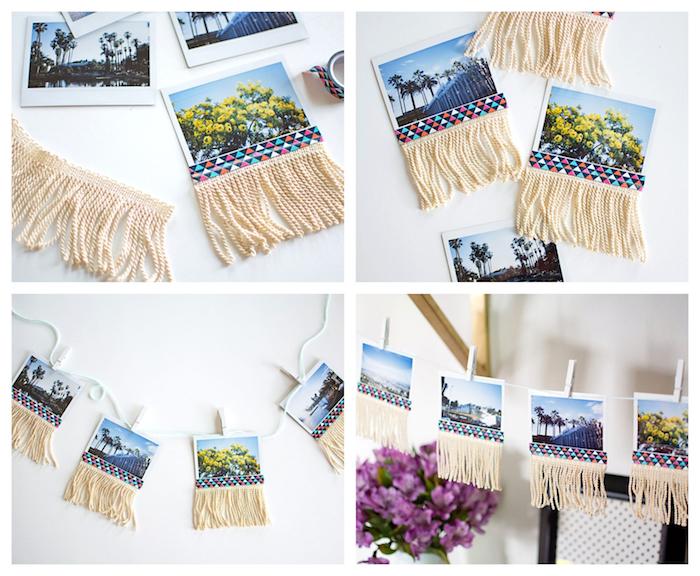 pele mele de photos diy photos suspendues à des pinces à linge sur un fil avec une décoration de frange de fils et bande washi tape