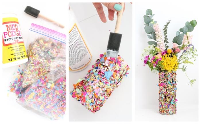 comment faire un vase personnalisé de confettis colorés collés sur sa surface, cadeau maitresse fin d année, bouquet de fleurs