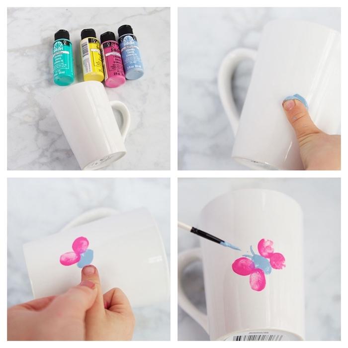 modele de mug maitresse d école personnalisé de motif papillon en empreintes de doigts, dessiner avec de la peinture