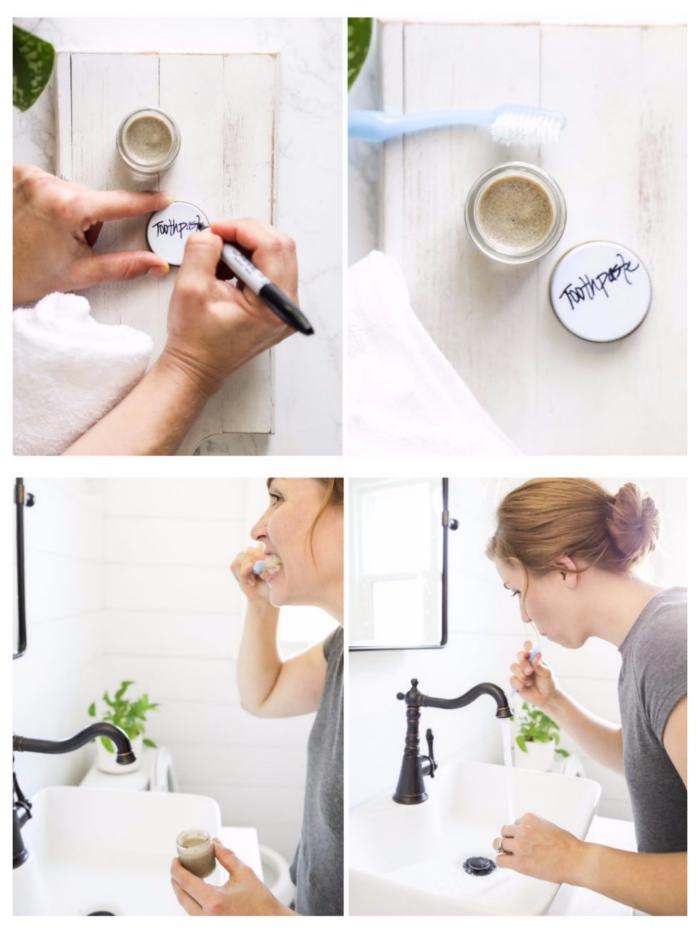 des dents propres avec un dentifrice argile bentonite, huile de coco, sel et huiles essentielles, recette rentable et économique de dentifrice fait maison