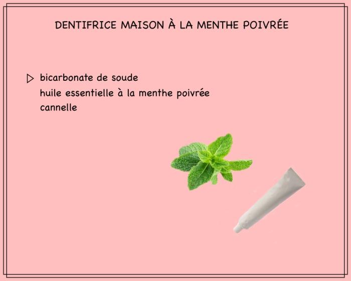 recette facile de dentifrice maison fraîcheur préparé avec du bicarbonate de soude, cannelle et huile essentielle à la menthe douce
