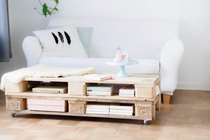 ambiance douce dans le salon avec un canapé blanc et une table palette d'aspect bois naturel décorée un présentoir pastel