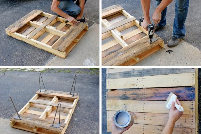 les étapes finales de la fabrication d une table basse palette d esprit industriel, comment réaliser une table en bois récup à pieds en épingles