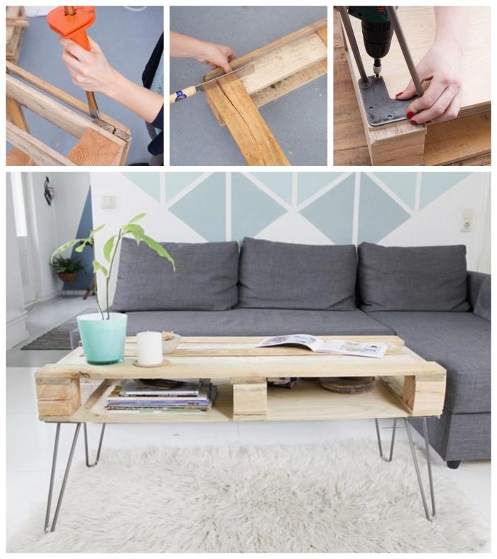 fabriquer une table basse vintage scandinave à partir une palette récupérée, joli table en palette à pieds en épingles à l'aspect bois nature qui s'harmonise avec l'ambiance scandinave du salon