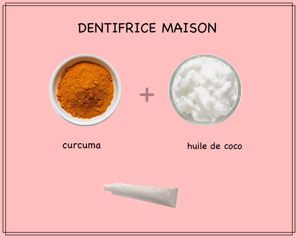 fabriquer son dentifrice maison avec seulement deux ingrédients naturels, dentifrice blanchissant à l'huile de coco et au curcuma