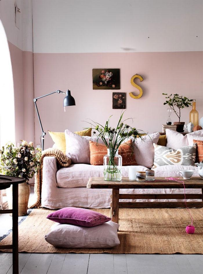 Idée salon rose déco chambre blanc et rose deco rose pale simple idee salle de sejour rustique