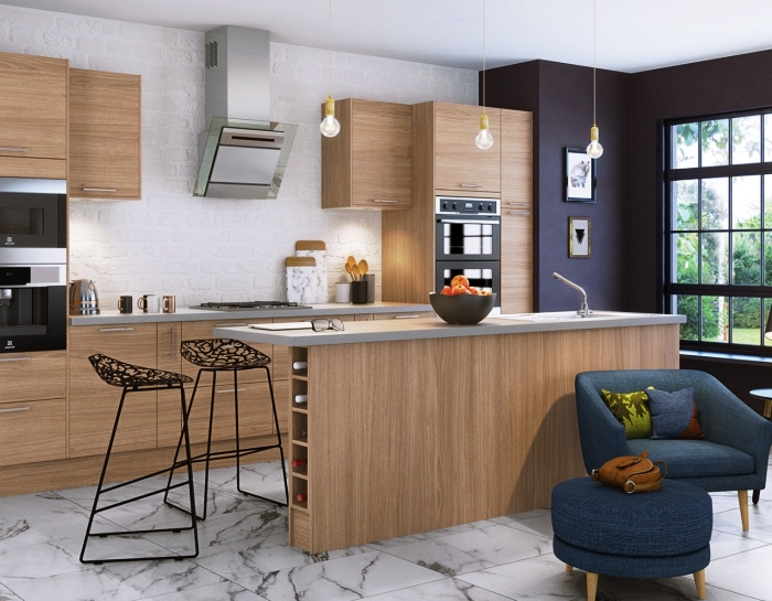 aménagement de cuisine moderne en bois au plafond blanc avec carrelage design marbre et murs en briques blanches