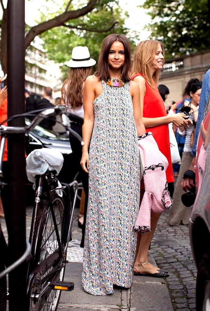Robe été longue robe longue fendue quoi porter aujourd hui tenue féminine moderne longue robe à motif coloré