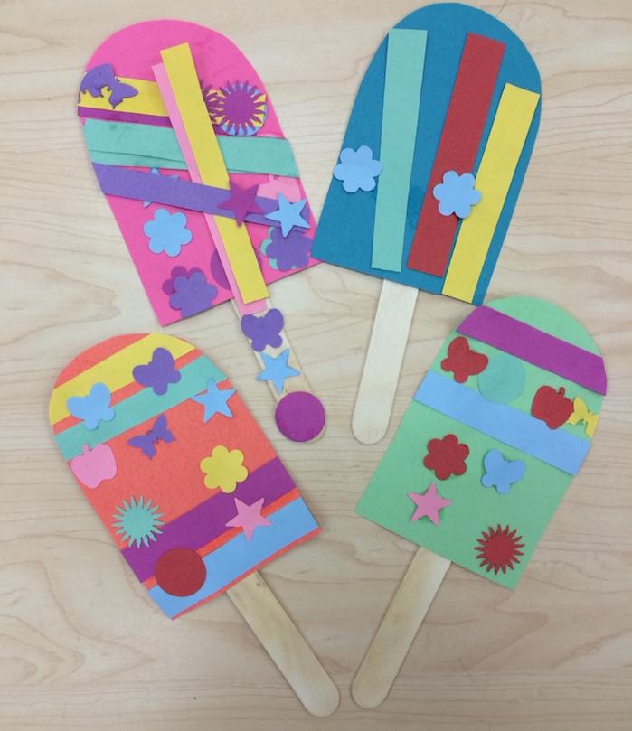 activité manuelle 3 ans facile glaces en papier et batonnet de glace bois, décoration de motifs colorés en papier