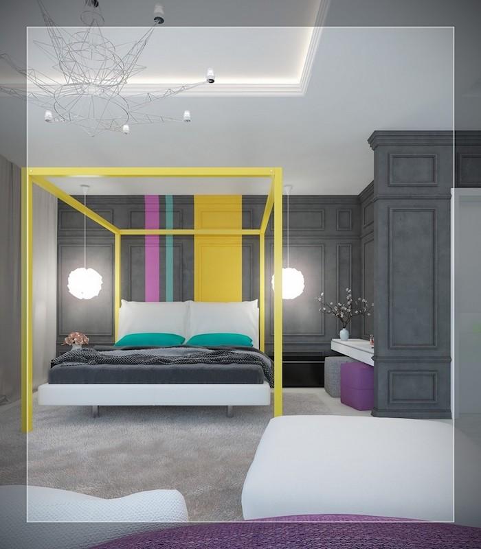 Comment assortir les couleurs tapisserie chambre adulte couleur mur chambre originale idée chambre gris détails jaune et vert